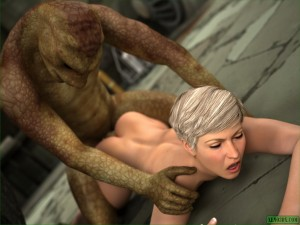 A monster for sexy blonde - 3D CGI Porn Xeno 3DX