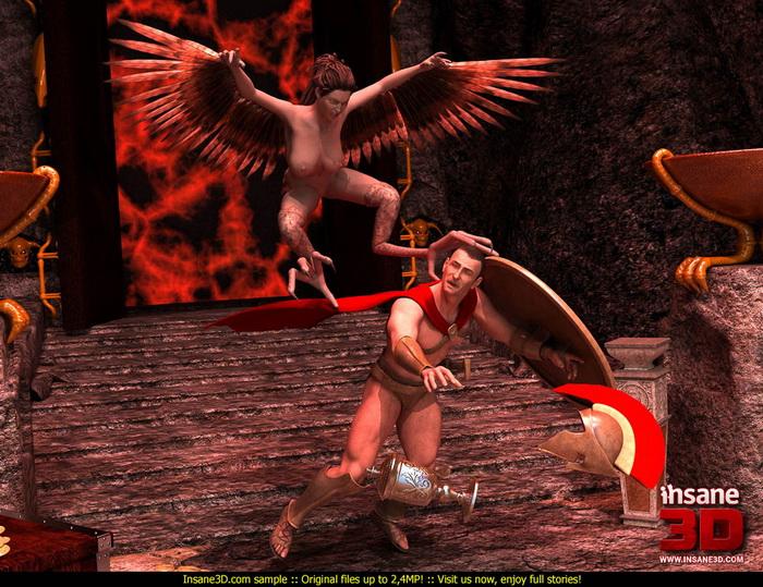 Hot harpy in 3d cgi